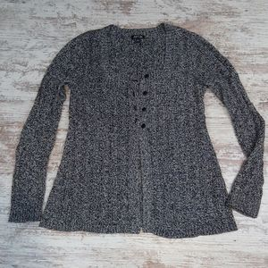 Apt. 9 Black and White Knit Button Cardigan Top